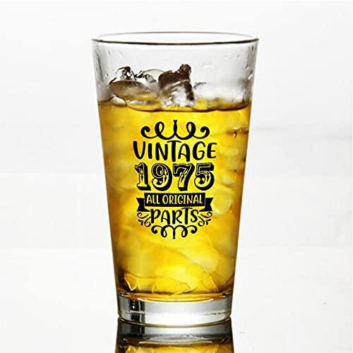 Vintage 1975 All Original Parts Craft Copas de cerveza personalizadas, vaso de cerveza de pinta de 16 onzas Ideas para Chrismas,Día de Acción de Gracias, papá, mamá, marido, esposa, padrino de piso.