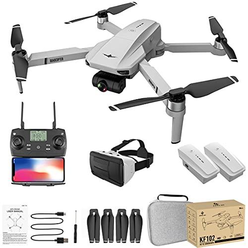 LICI Collassabile Fotografia Aerea Drone,KF102 5G WiFi GPS 4K HD Autostabilizzante Meccanico PTZ Telecomando 4 Assi RC Drone,con Portatile Zaino con 3D Display per Realtà Virtuale Montato sulla Testa