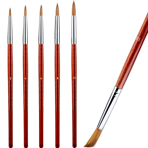 5 Pieces Acrylic Nail Brush with Round Wood Handle 3D Painting Drawing Brush UV Gel Carving Pen Brush for Acrylic Liquid Styling Nail Art Decoration (2-10, Mahogany)