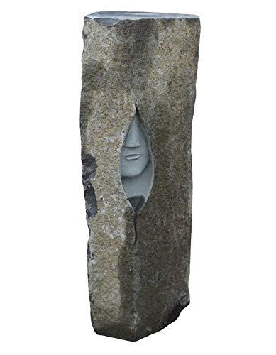 Natursteinzentrum Rhein Main Quellstein Wassersäule aus Basalt mit Gesicht, Höhe ca. 100 cm