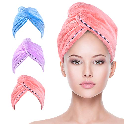 Hair Towel, Kmeivol 3 Pack Microfiber Hair Towel, Super Absorbent Hair Towel Wrap, Microfiber Hair Towel for Curly Hair with Button, Microfiber Towel for Hair to Dry Quickly(Pink & Blue & Purple)