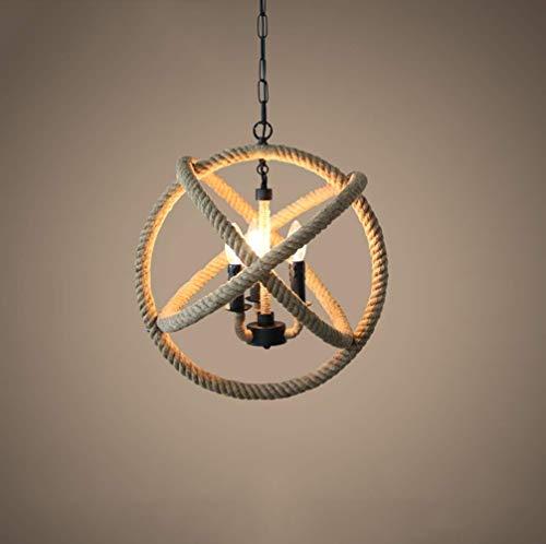 CAIMEI Lámpara Colgante de Cuerda de Cáñamo Modelo Spots de Techo Lámpara Colgante de Arte de Hierro Negro Lámpara Colgante de Cuerda de...