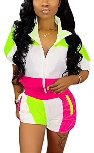 Women 2 Piece Outfits Zip Jacket Crop Tops and Shorts Pants Windbreaker Tracksuit Rose