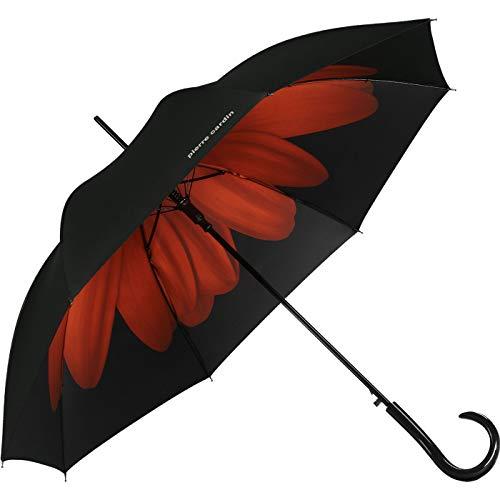 Pierre Cardin - Paraguas automático para Mujer, diseño de Flores, Color Rojo