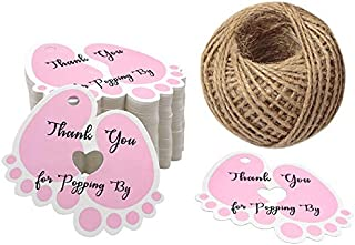 Original Design Thank You for Popping by,100 PCS Cute Baby Feet Thank You Tags with 100 Feet Natural Jute Twine Perfect for Baby Shower Favor (Pink)