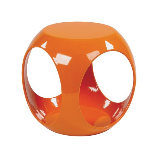 OSP Home Furnishings Slick High Gloss Finish Cube Occasional Table, Orange