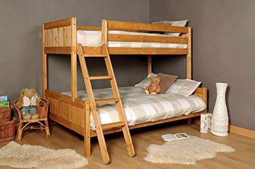 Caramel Triple Solid Wood Bunk Bed 3ft Top Bunk 4ft Bottom Bunk