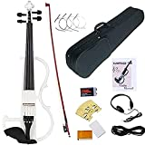 Electronic Violin, MIRIO White Full Size 4/4 Vintage Solid Wood Metallic Electric/Silent Violin with Ebony Fittings, Carrying Case, Audio Cable, Rosin, Bow