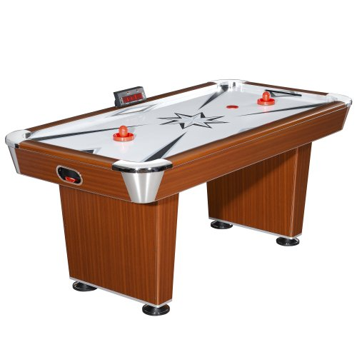 Hathaway Midtown 6' Air Hockey Family Game Table with Electronic Scoring, High-Powered Blower, Cherry Wood-Tone, Strikers and Pucks