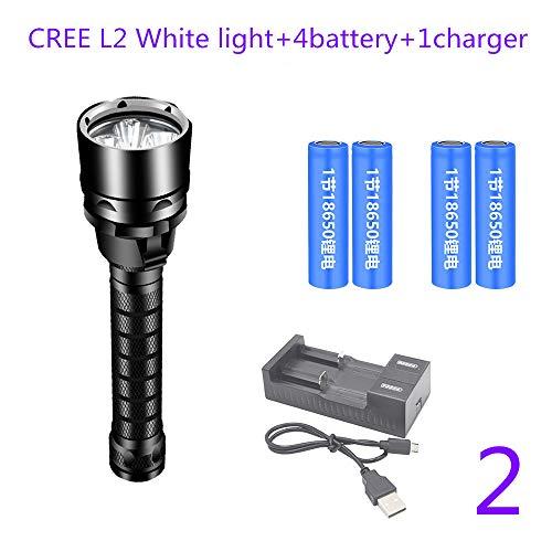 TONGTONG Lampe de Poche de plongée L2 18650 Torche de plongée sous-Marine Portable 80 mètres Camping Dimming USB étanche facturable,2