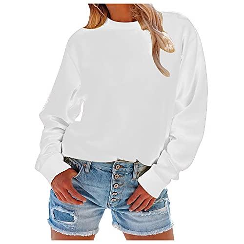 NISOWE Blusa de manga larga para mujer, estilo informal, cuello redondo, color liso, para disfraz., N, S