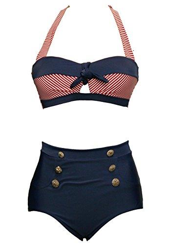 Bslingerie® Sexy Damen Retro Bademode Übergröße Halfter Bikini Set (M, Rot gestreiften Keyhole)