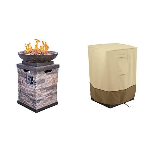 Bond Manufacturing 63172 Newcastle Propane Firebowl Column 40,000 BTU Gas Fire Pit 20 lb, Pack of 1, Natural Stone & Classic Accessories Veranda Water-Resistant 21 Inch Outdoor Fire Column Cover