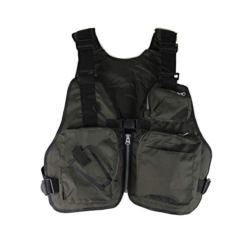 fishing life jacket Kayak Life Jacket Water Life Jacket Swimming Life Jacket Fly Swimming Life Vest Multi-Pocket Life Jacket Multi-Function Life Vest (Olive Green, Suitable for Every)
