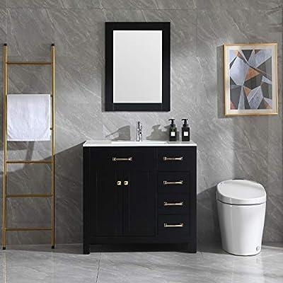"Wonline 36"" Black Bathroom Vanity and Sink Combo Cabinet Undermount Ceramic Vessel Sink Chrome Faucet Drain with Mirror Vanities Set"