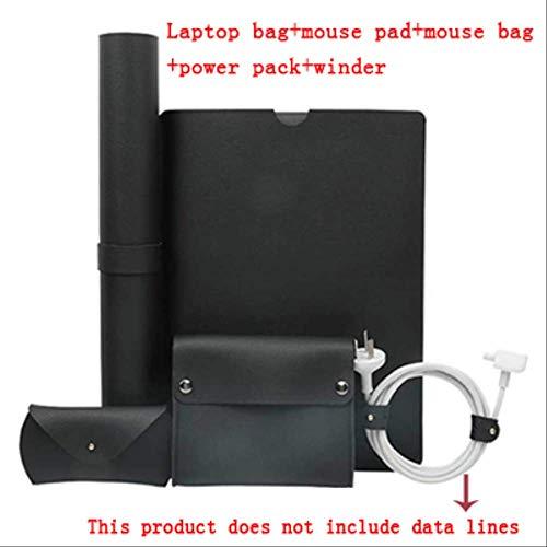 BJBNDB 5 In 1 Lederhülle Laptop Tasche Für MacBook Pro Retina 11 12 Neu 13 15 Notebook Hülle Für Xiaomi Air 12,5 13,3 15,6 Hülle Für MacBook 15 Zoll Schwarz