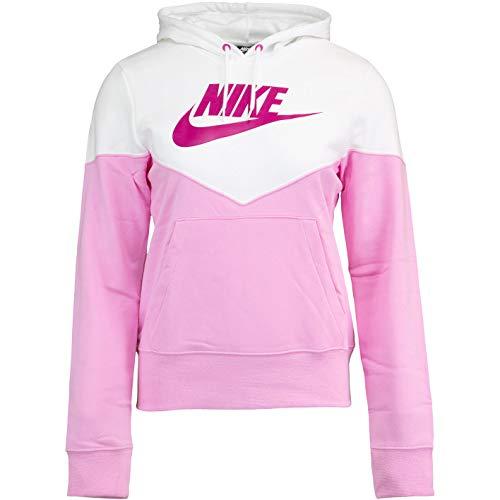 Nike Heritage - Sudadera con capucha para mujer, Todo el año, Mujer, color rosa y blanco, tamaño XS