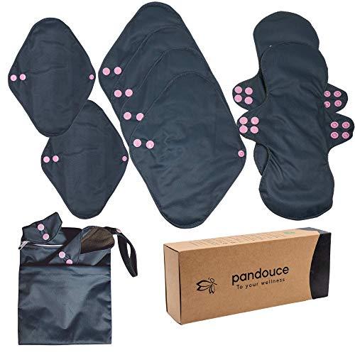 8 Serviettes Hygiéniques Lavables -Protège-slips Ultra Absorbante -Tous Types de Flux Périodiques (Nuit/Jour) -Fabriquées à base de bambou - Pads Réutilisables avec Sac de Transport Inclus