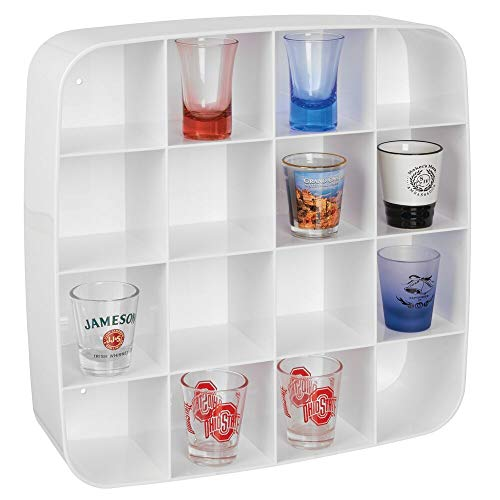 mDesign Plastic Wall Mount Display Organizer Holder - 16 Compartments - Protect, Store and Show Off...