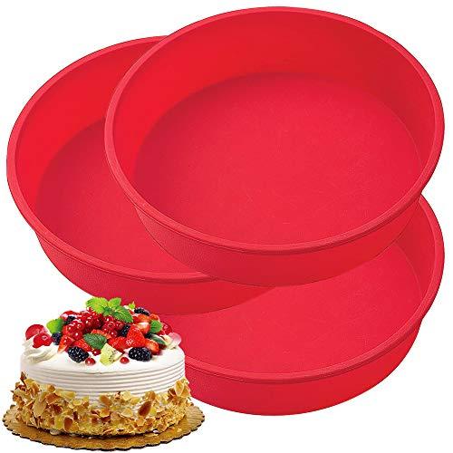 FANDE Moldes de silicona para tartas, Molde Redondo de Silicona para Hornear Tartas, Molde de Pastel Redondos Bandeja para Pan, antiadherentes, 15,5 cm / 6 pulgadas