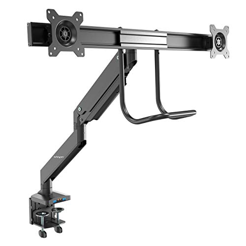 StarTech.com Desk Mount Dual Monitor Arm with USB & Audio - Slim Full Motion Adjustable Dual Monitor VESA Mount for up to 32' Displays - Ergonomic Articulating - C-Clamp/Grommet (ARMSLIMDUAL2USB3)