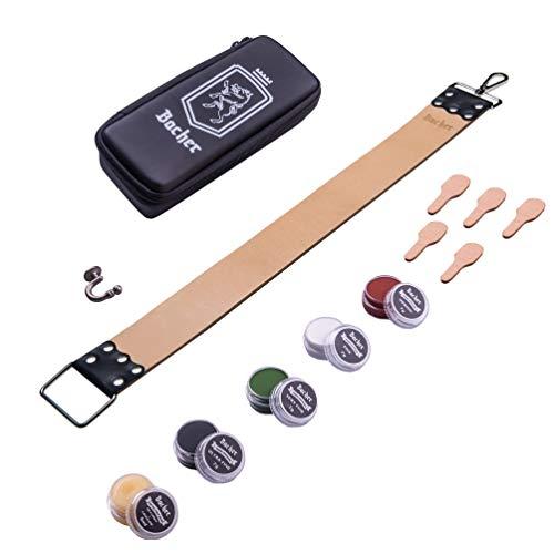 Asentador para Navajas de Afeitar BACHER Premium REGULAR. Incluye Estuche de Transporte y Kit de Bálsamo Suavizante + Compuestos de Suavizado