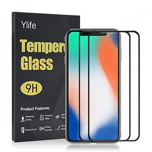 Ylife Panzerglas Schutzfolie Kompatibel iPhone 11 Pro/iPhone X/XS,3D Full Coverage 9H Härte Displayschutz Anti-Fingerabdruck Blasenfrei Gehärtetes Glas Panzerglasfolie Ultra Klar Folie (5.8 Zoll)