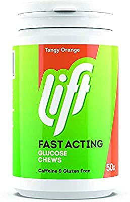 Lift Glucose Chewable Tablets, ORANGE, 6 jars/tubs (50 tablets per tub)