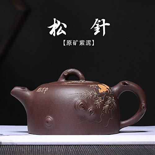 ZHOUYUFAN Teekanne aus Ton, handgefertigt, Tannennadel-Tee-Geschenkbox (Farbe: violetter Schlamm, Größe: Einheitsgröße)