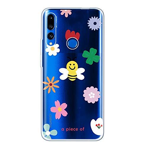 Miagon Klar Hülle für Huawei Honor 20 Lite,Kreativ Silikon Case Ultra Schlank Transparente Weich Handyhülle Anti-Kratzer Stoßfest Schutzhülle,Biene Blume