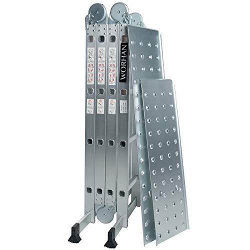 WORHAN® 4.6m Échelle Aluminium Multifonction avec 2 Plates-formes d'acier Modèle GROSSE CHARNIÈRE Polyvalente Escabeau Échafaudage Multi-usage ALU Modulable Pliable KS4.6+platforms