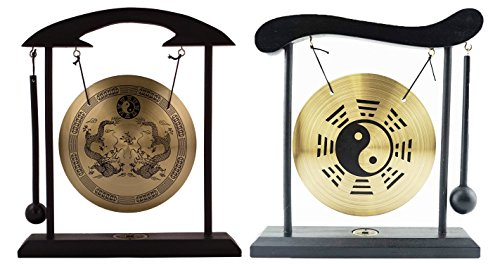 6goodeals, Multi-Set Feng Shui Zen Art Brass Gong with Wooden Stand for Home Decor, Desktop Wind Chime (2, Yin Yang + Dragon)