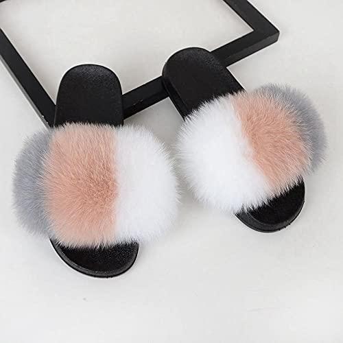 Kirin-1 Sandalias De Dedo para Mujer,Zapatillas Esponjosas Mujeres Felpestos Acogedores Deslizadores Peludos Con-44-45_k
