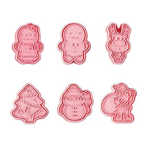 DUORUIMI 6 Stück Weihnachten Ausstechformen Keks Fondant Kuchenform Kunststoff für DIY Backwerkzeug Dekorieren Lebkuchenmann Rentier Muster