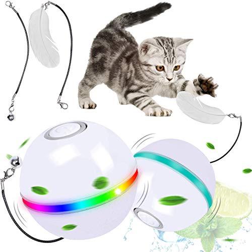 G.C Gatto Palla Automatica, Gioco Gatto Interattivo Giocattoli per Gatti Cani Cuccioli, Giocattolo per Animali in Casa, LED 360 Gradi Rotazione e Ricaricabile USB