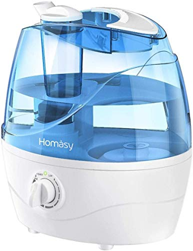 Homasy Ultrasonic Cool Mist Humidifier, Bedroom Humidifier for Babies, Mom and Office, Air Humidifier for 24 Hours Quiet Working, Auto Shut-Off with Dial Knob Mist Control, Blue