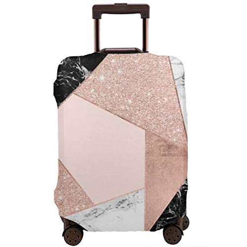 Modern Rose Gold Glitter Black White Marble Geometric Color Block Travel Luggage Cover Fit for 26-28 Inch Suitcase