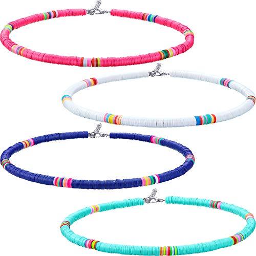 Hicarer 4 Piezas Collar de Surfero Heishi Gargantilla de Cuentas Boho Bohemia Collar Africano de Cuentas de Vinilo para Mujeres Niñas