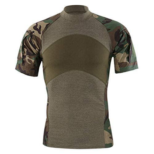 Homme Short Sleeve Army Camo Compression Tactical Combat T-Shirt Sports Quick Dry Underwear Tee Shirt Tight Tops(M, Jungle Camo)