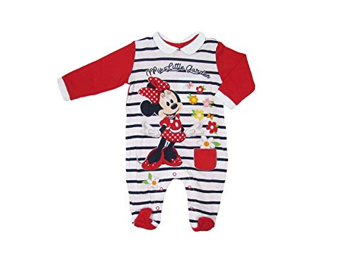 Disney Tutina neonata Minnie Mouse in Cotone, Fantasia a Righe - Art. 46366 (3 Mesi, Rosso)