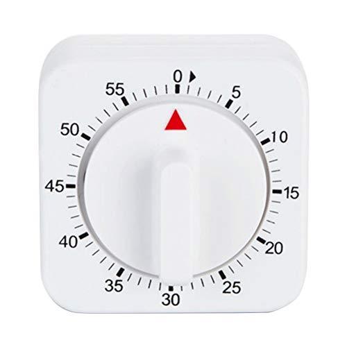 xMxDESiZ 60 Minuten Küche Cook Square Timer Mechanischer Countdown Wecker Erinnerung Weiß
