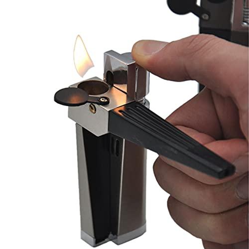 PENNY73 Juego de Encendedor de Metal 2 en 1 con Tubo Plegable Portátil Plegable Aparato Que Fuma de Los Hombres de la Llama Abierta del Encendedor para la Cocina del BBQ