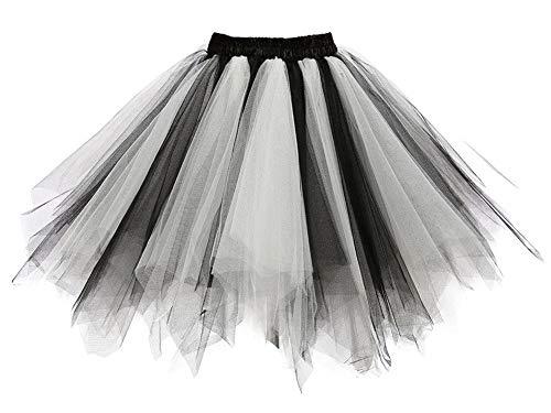 Aysimple Aysimple Damen Kurz Tutu Rock Tüllrock Tütü Crinoline Minirock Reifrock Unterrock Kleid Tüll Schwarz Weiß