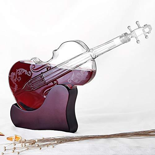 Creative Crafts Vidrio Botella de vino Forma de violín Separador de vino Set de vino Juego de vinos de vidrio de vidrio de alta boro Decantador de vino tinto para la decoración del hogar de la barra A
