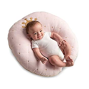 Boppy Newborn Lounger—Preferred|Premium Fabrics Velvety Minky Top|Lightweight Plush Chair with Carrying Handle|Infant Seat for Awake Time|Machine Washable|Pink Princess with Crown Detail