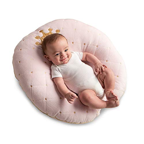 Boppy Newborn Lounger—Preferred|Premium Fabrics, Velvety Minky Top|Lightweight Plush Chair with Carrying Handle|Infant Seat for Awake Time|Machine Washable|Pink Princess with Crown Detail