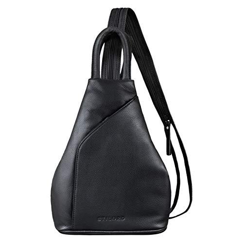 STILORD \'Lyanna\' Sling Bag Damen Leder Crossbody Rucksack 2-in-1 Handtasche Frauen Rucksackhandtasche für City Ausgehen Shopping Tagesrucksack Echtleder, Farbe:schwarz