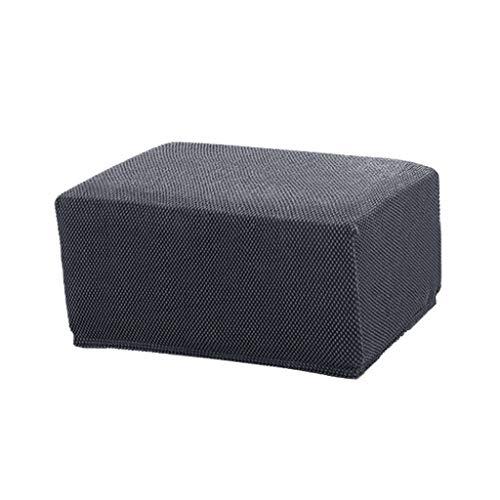 Hockerbezug Quadratische Stuhlhusse Stuhlbezug Stretch Husse für Sitzhocker, Fußhocker, Ottomane, Hocker - Grau