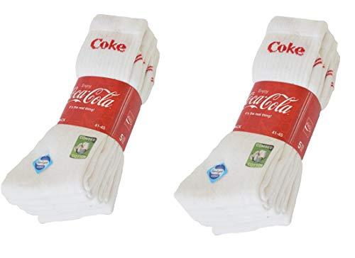 Coca-Cola 10/15/20 Paar Herren/Damen Sportsocken, in Schwarz, Blau/Grau, Weiß mit Sanitized Ausstattung - wirksam gegen Geruch und Bakterien in 35-40/41-45/46-50 (41-45, 10 Paar Weiß)