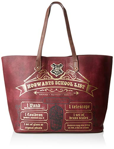 BIOWORLD MERCHANDISING Damen Sac Cabas Harry Potter - Hogwarts School List Tote, Rot (Bordeaux), 15x32x48 centimeters